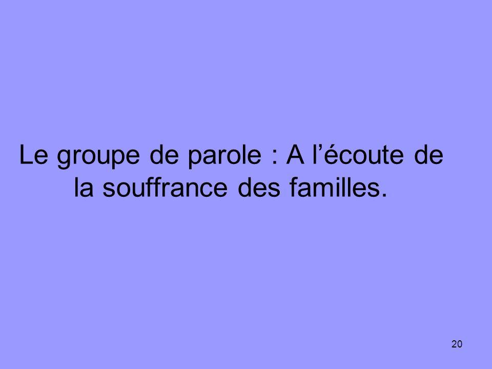 Le groupe de parole : A l'écoute de la souffrance des familles.