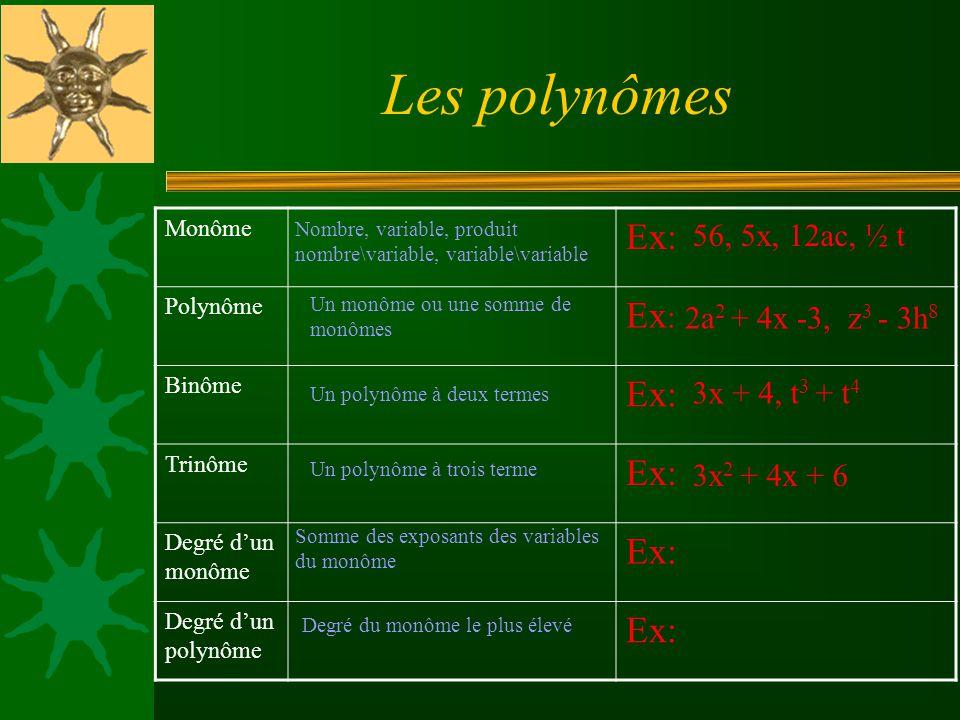 Les polynômes Ex: 56, 5x, 12ac, ½ t 2a2 + 4x -3, z3 - 3h8