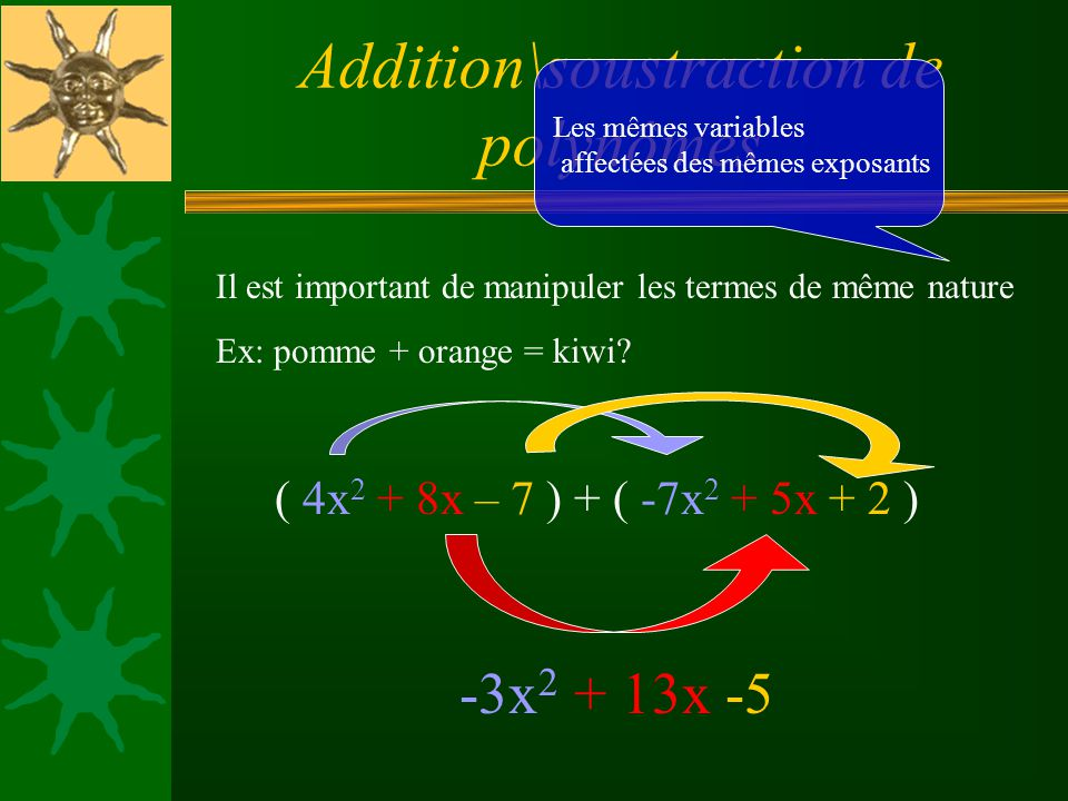 Addition\soustraction de polynômes