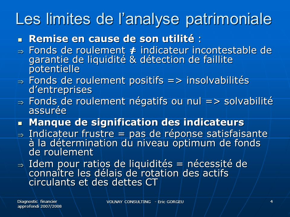 Les limites de l'analyse patrimoniale