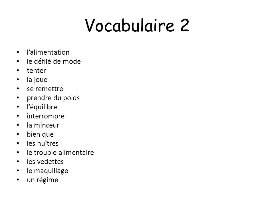 Vocabulaire 2 l'alimentation le défilé de mode tenter la joue