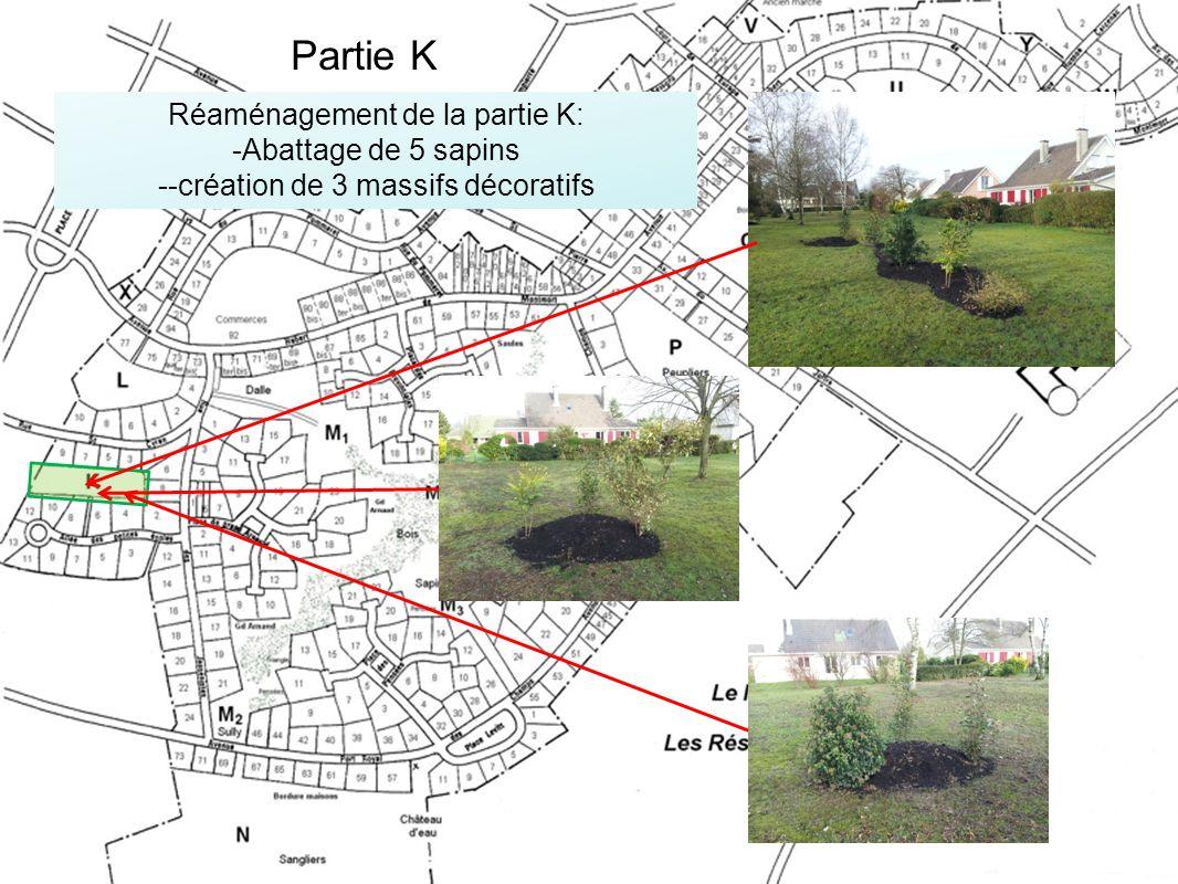 Partie K Réaménagement de la partie K: Abattage de 5 sapins