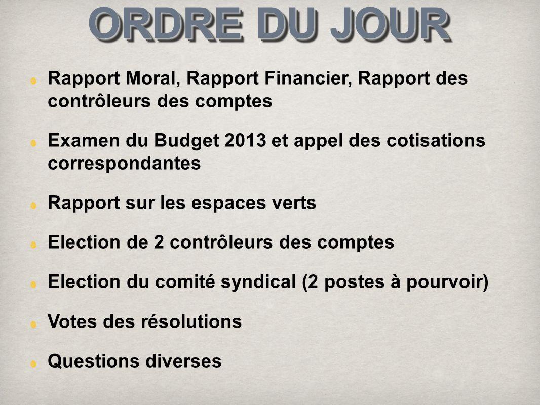 ORDRE DU JOUR Rapport Moral, Rapport Financier, Rapport des contrôleurs des comptes.