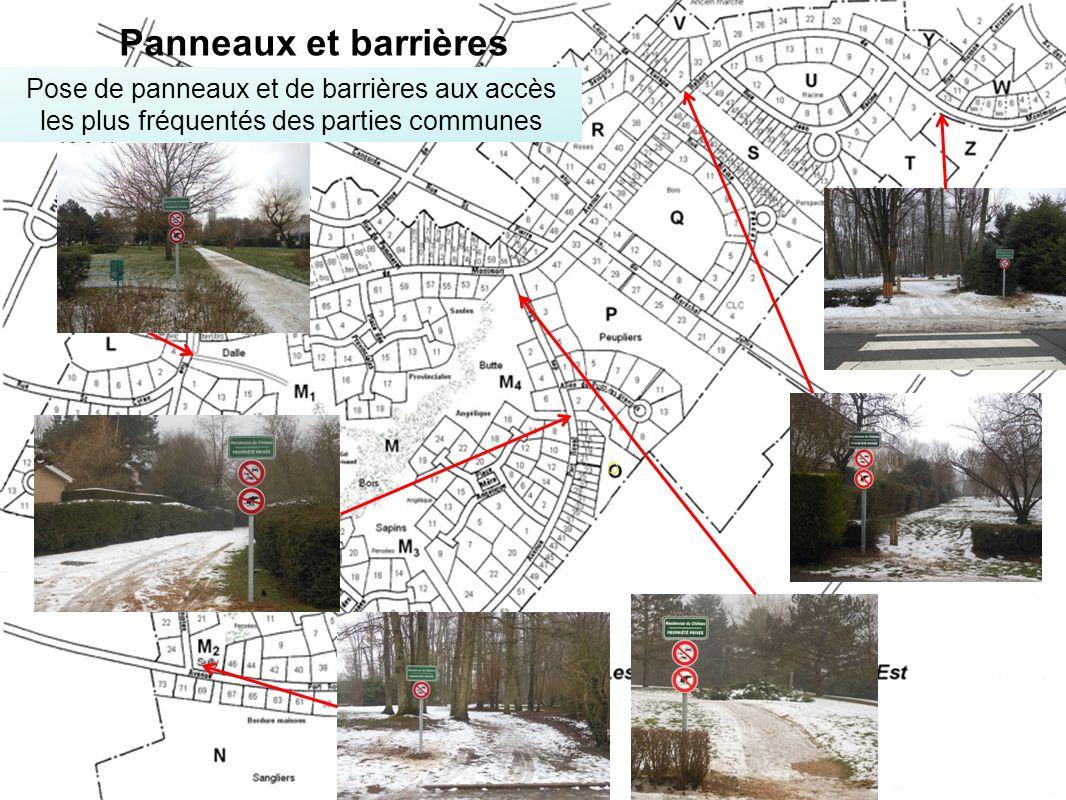 Panneaux et barrières Pose de panneaux et de barrières aux accès les plus fréquentés des parties communes.
