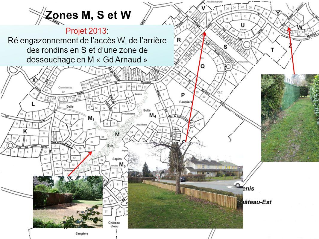 Zones M, S et W Projet 2013: Ré engazonnement de l'accès W, de l'arrière des rondins en S et d'une zone de dessouchage en M « Gd Arnaud »