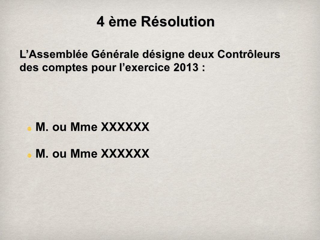 4 ème Résolution M. ou Mme XXXXXX