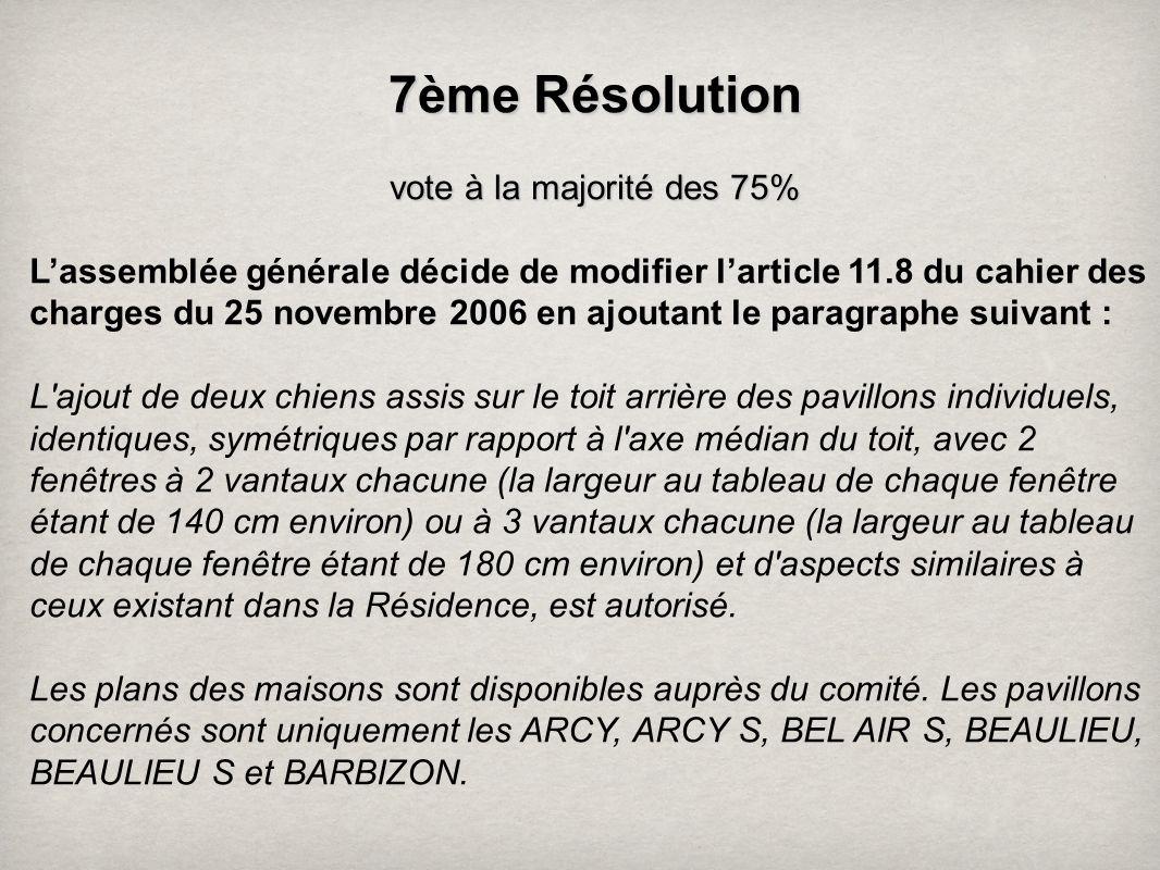 7ème Résolution vote à la majorité des 75%