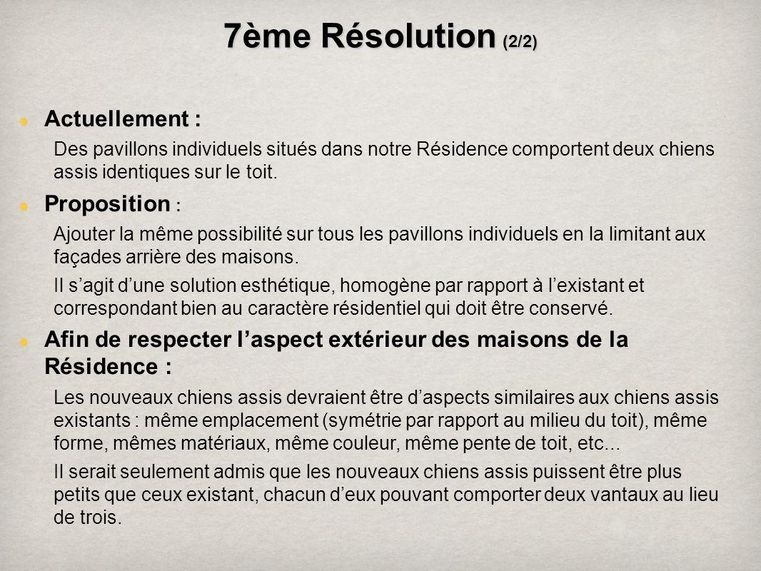 7ème Résolution (2/2) Actuellement : Proposition :