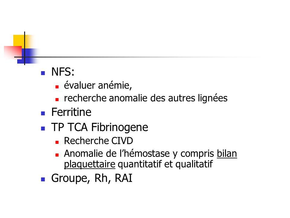 NFS: Ferritine TP TCA Fibrinogene Groupe, Rh, RAI évaluer anémie,