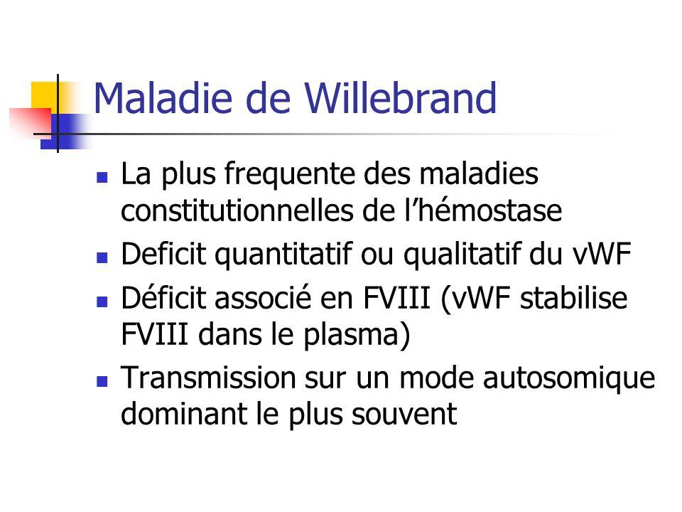 Maladie de Willebrand La plus frequente des maladies constitutionnelles de l'hémostase. Deficit quantitatif ou qualitatif du vWF.