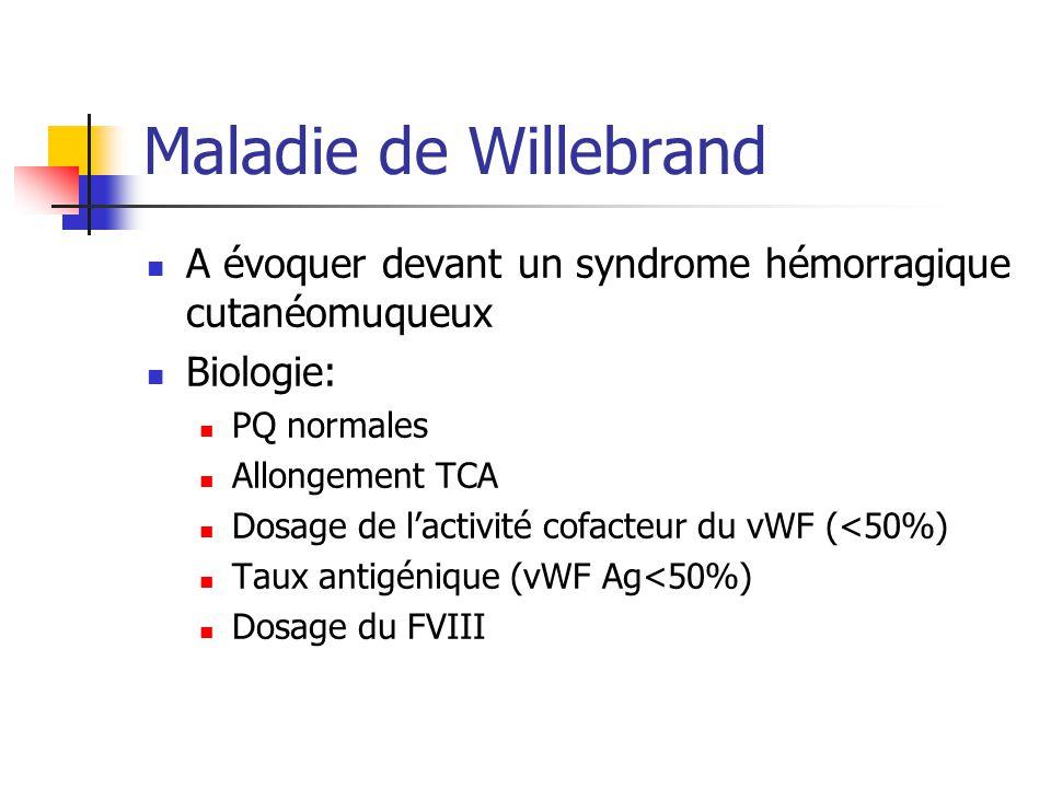 Maladie de Willebrand A évoquer devant un syndrome hémorragique cutanéomuqueux. Biologie: PQ normales.