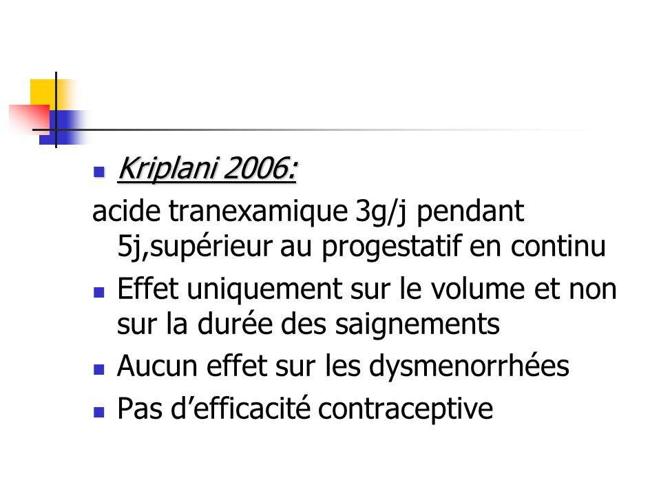 Kriplani 2006: acide tranexamique 3g/j pendant 5j,supérieur au progestatif en continu.