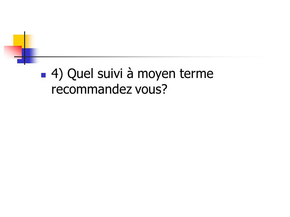 4) Quel suivi à moyen terme recommandez vous