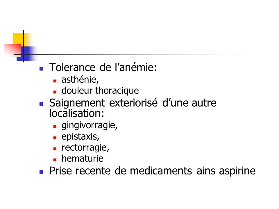 Tolerance de l'anémie: