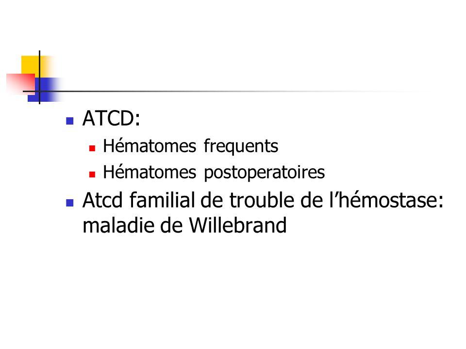 Atcd familial de trouble de l'hémostase: maladie de Willebrand