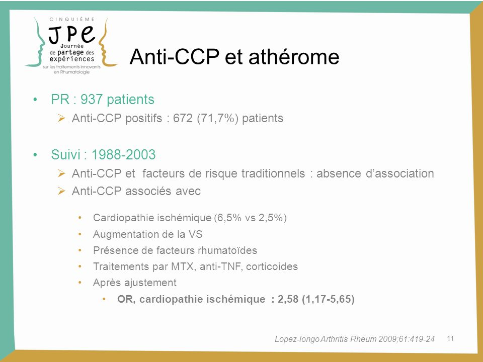 Anti-CCP et athérome PR : 937 patients Suivi :