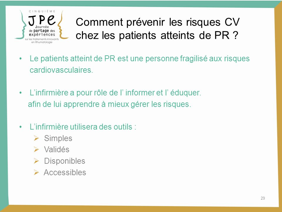 Comment prévenir les risques CV chez les patients atteints de PR