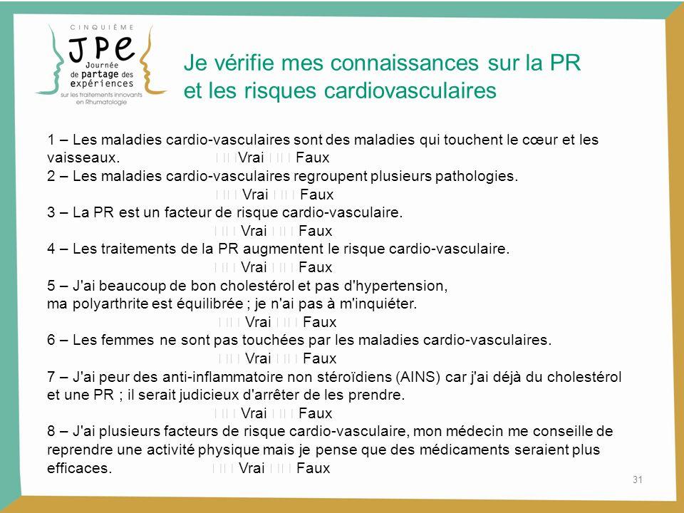Je vérifie mes connaissances sur la PR et les risques cardiovasculaires