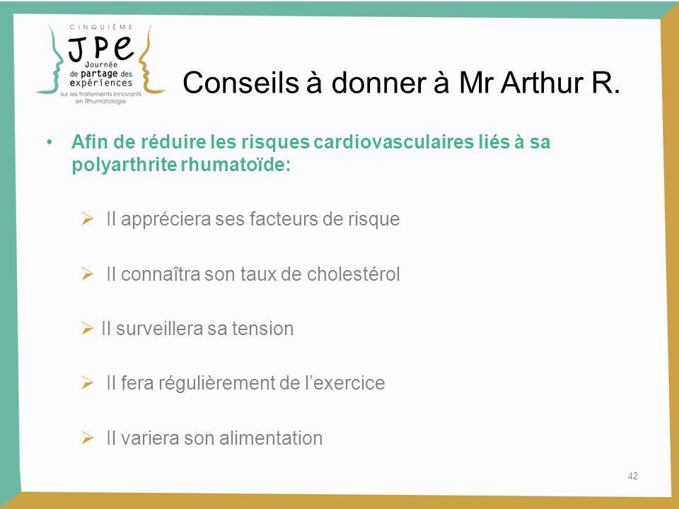 Conseils à donner à Mr Arthur R.