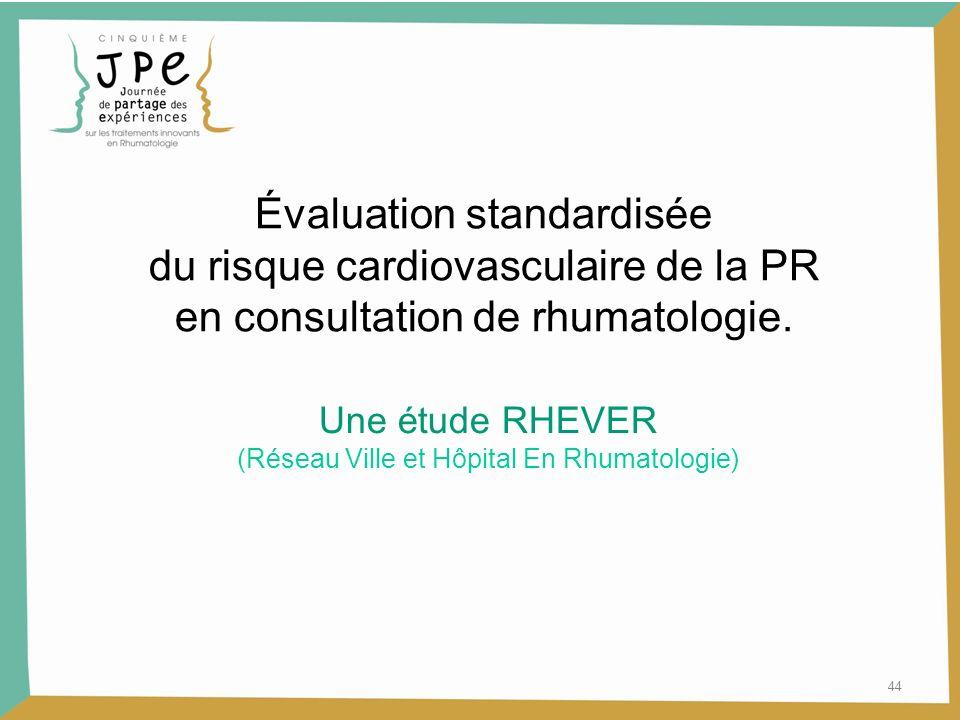Évaluation standardisée du risque cardiovasculaire de la PR