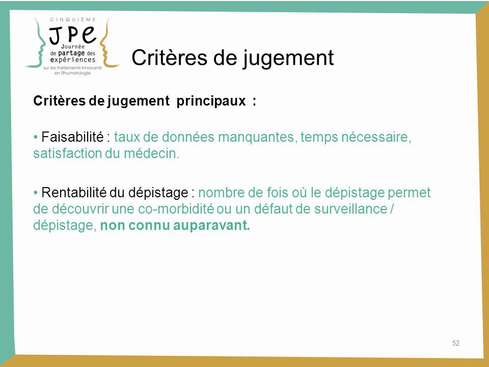 Critères de jugement Critères de jugement principaux :