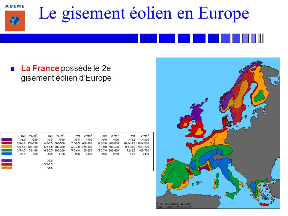 Le gisement éolien en Europe