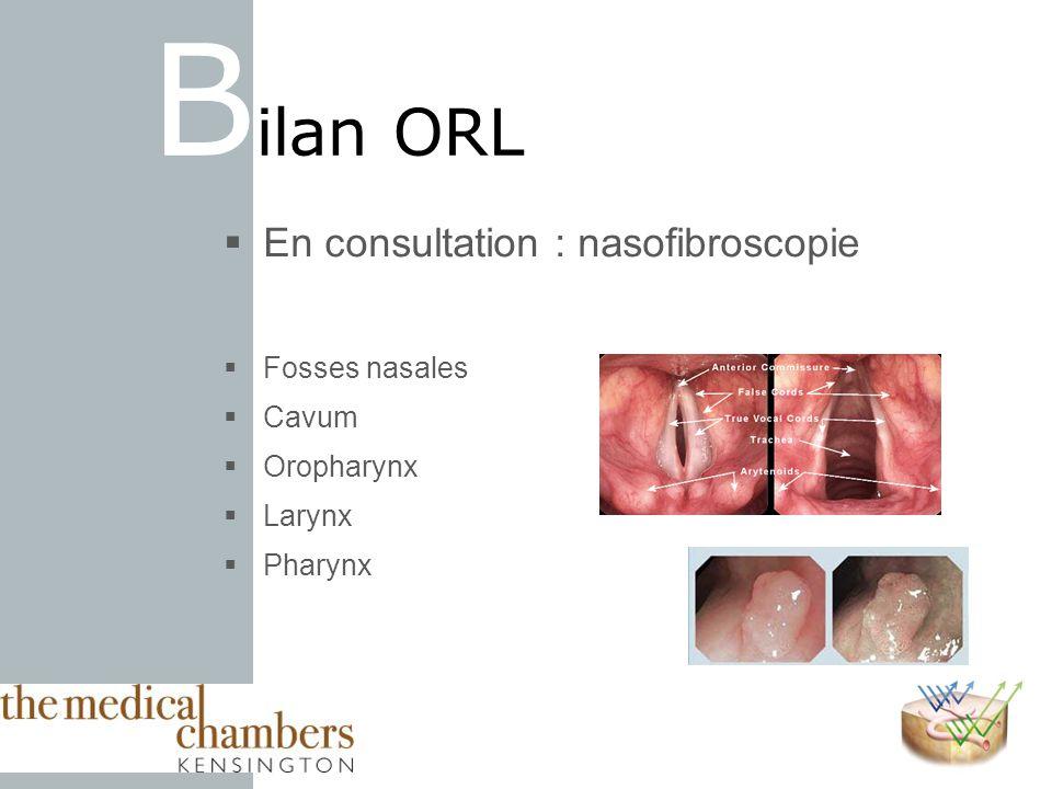 Bilan ORL En consultation : nasofibroscopie Fosses nasales Cavum