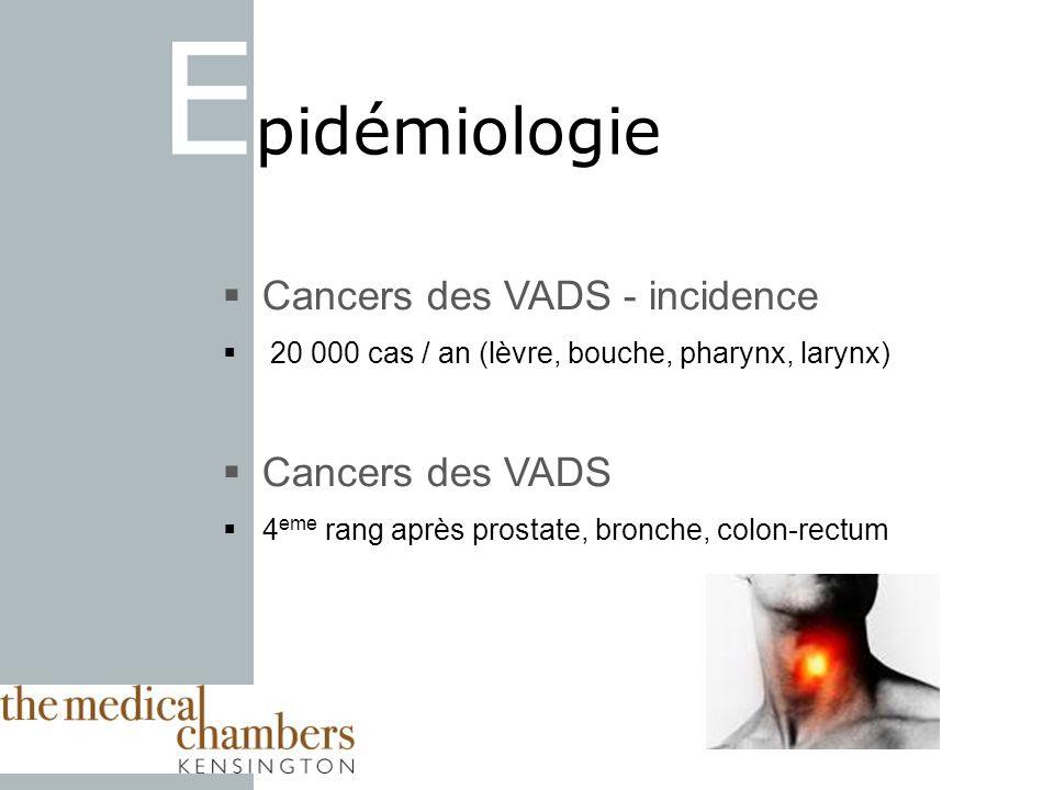 Epidémiologie Cancers des VADS - incidence Cancers des VADS