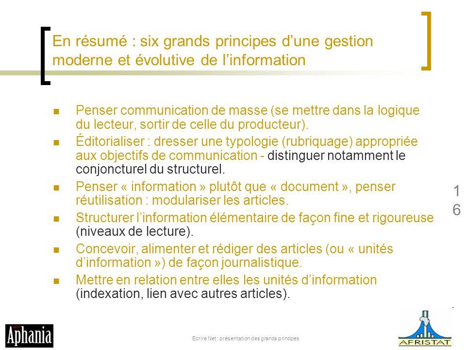 Ecrire Net : présentation des grands principes
