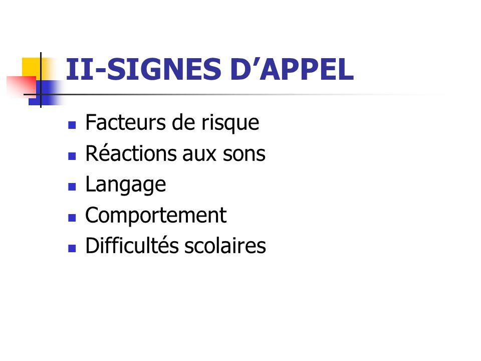 II-SIGNES D'APPEL Facteurs de risque Réactions aux sons Langage
