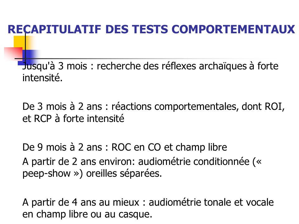 RECAPITULATIF DES TESTS COMPORTEMENTAUX