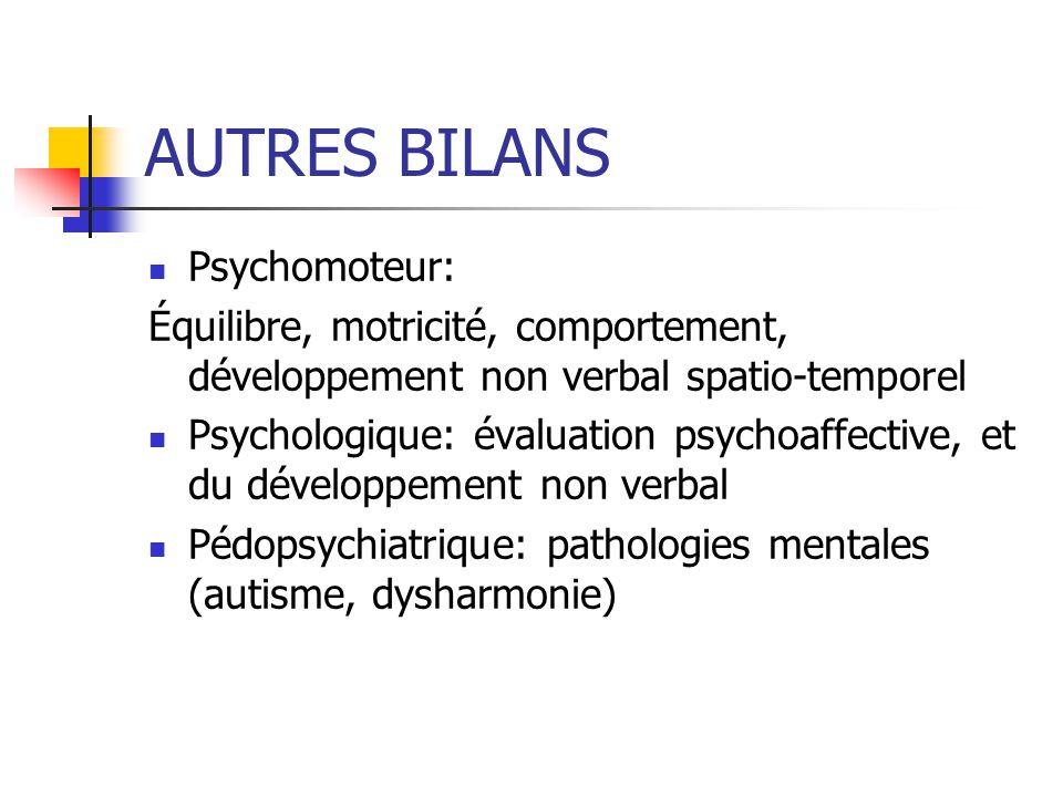 AUTRES BILANS Psychomoteur:
