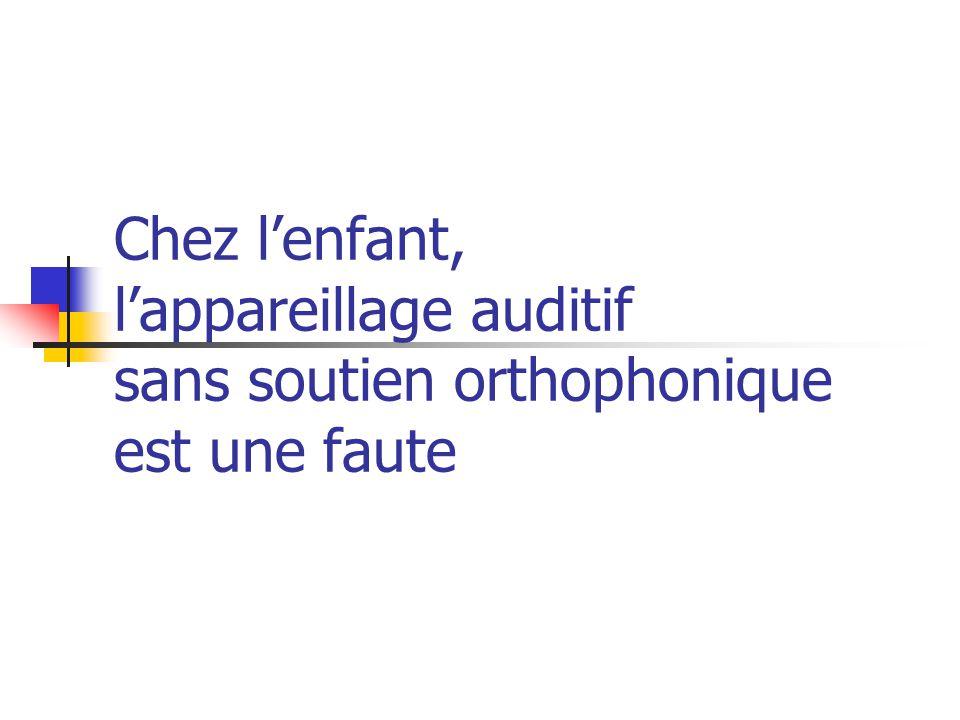 Chez l'enfant, l'appareillage auditif sans soutien orthophonique est une faute
