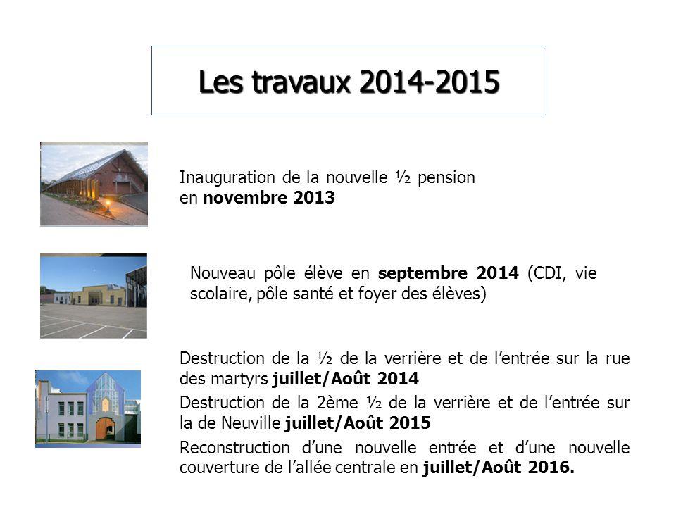 Les travaux 2014-2015 Inauguration de la nouvelle ½ pension en novembre 2013.
