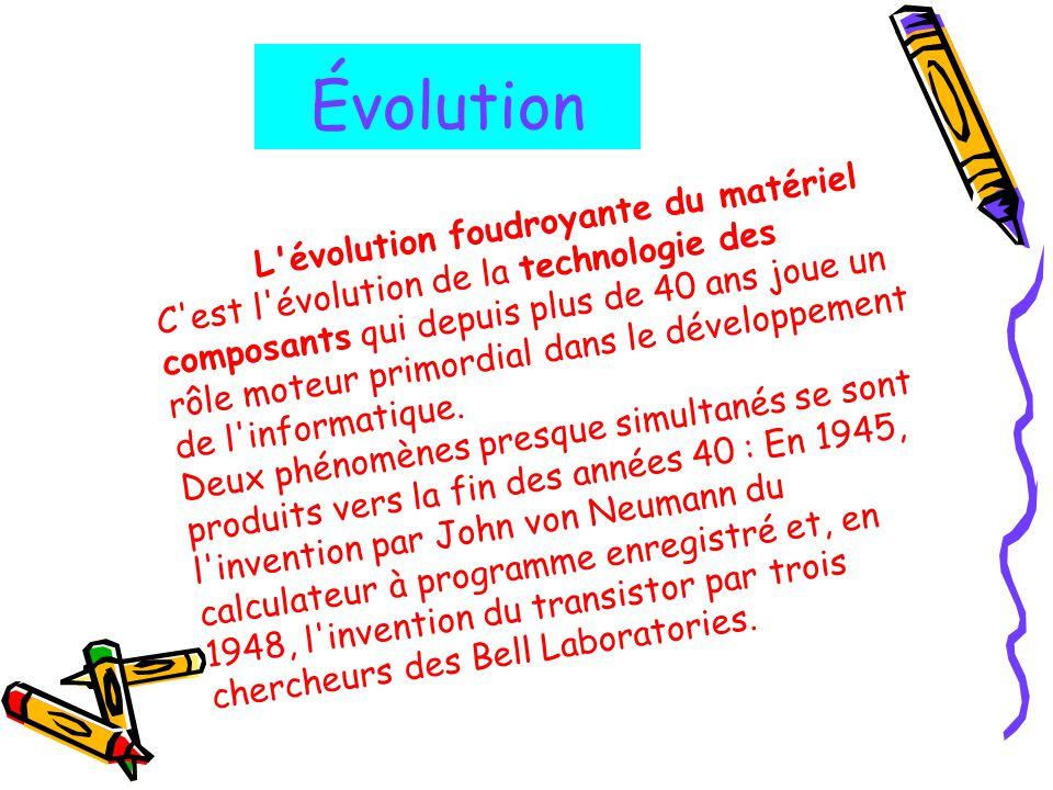 Évolution L évolution foudroyante du matériel
