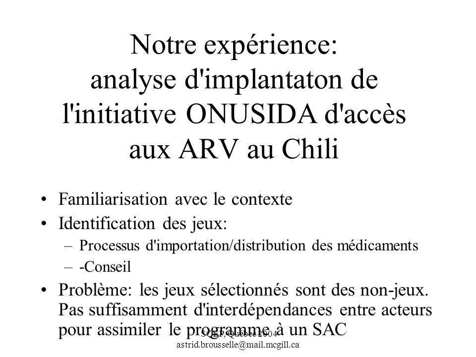 Notre expérience: analyse d implantaton de l initiative ONUSIDA d accès aux ARV au Chili