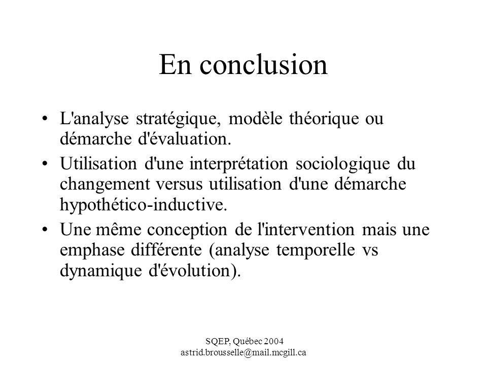 En conclusion L analyse stratégique, modèle théorique ou démarche d évaluation.