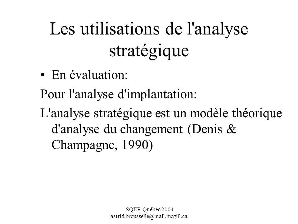 Les utilisations de l analyse stratégique