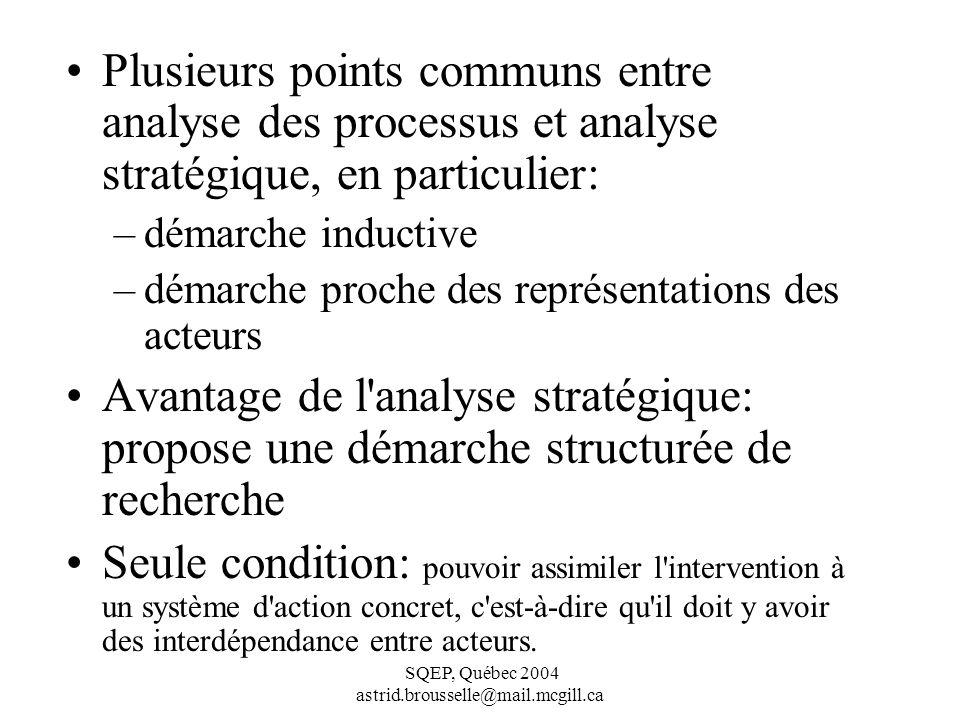 Plusieurs points communs entre analyse des processus et analyse stratégique, en particulier: