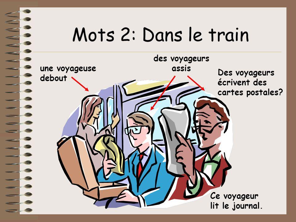 Mots 2: Dans le train des voyageurs assis une voyageuse debout