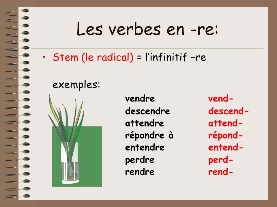 Les verbes en -re: Stem (le radical) = l'infinitif –re exemples:
