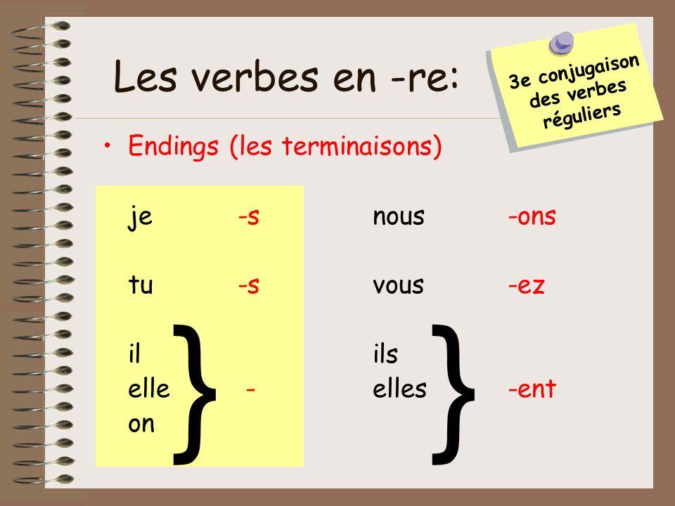 3e conjugaison des verbes réguliers