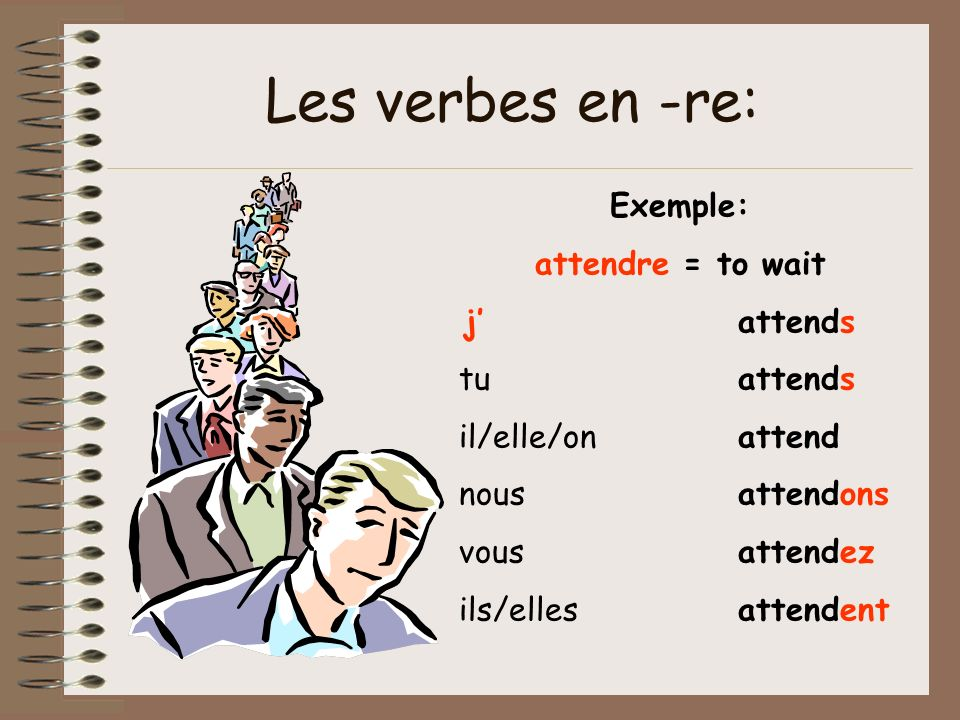 Les verbes en -re: Exemple: attendre = to wait j' attends tu attends
