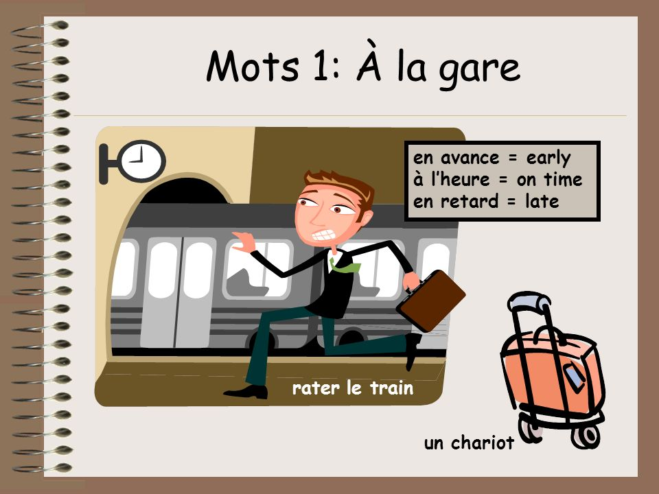 Mots 1: À la gare en avance = early à l'heure = on time en retard = late.