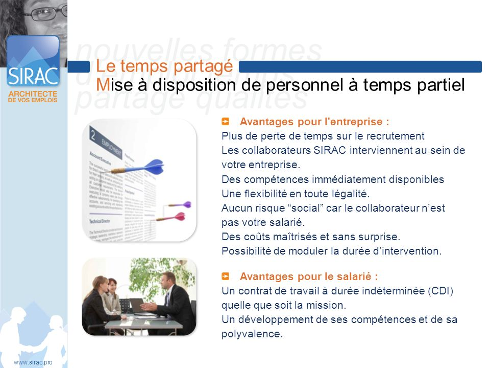 Le temps partagé Mise à disposition de personnel à temps partiel