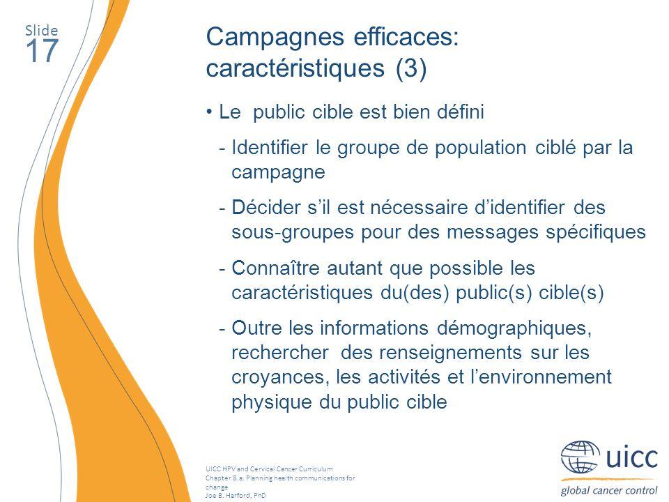 17 Campagnes efficaces: caractéristiques (3)