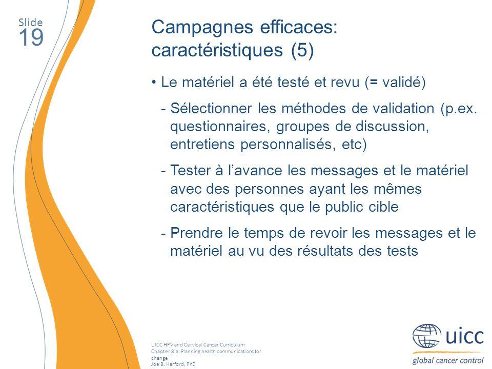 19 Campagnes efficaces: caractéristiques (5)