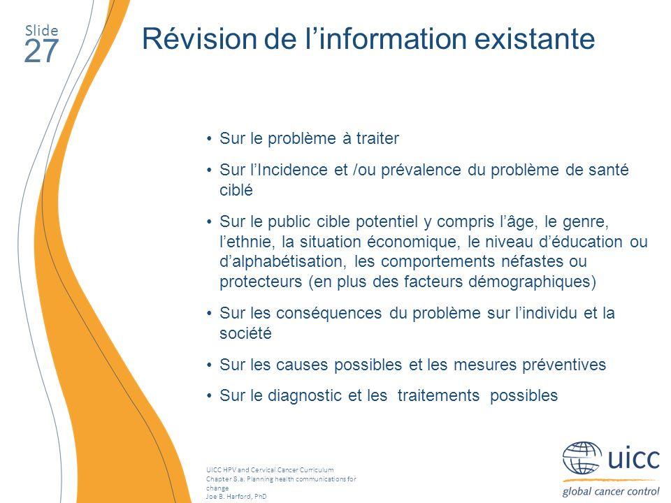 27 Révision de l'information existante Slide Sur le problème à traiter