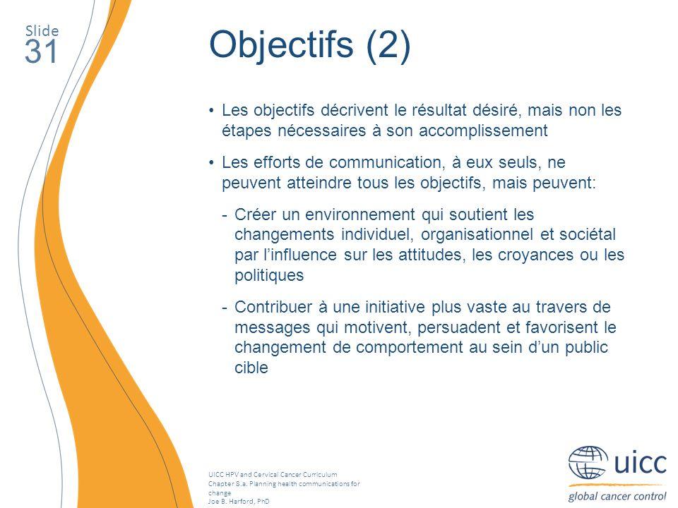 SlideObjectifs (2) 31. Les objectifs décrivent le résultat désiré, mais non les étapes nécessaires à son accomplissement.