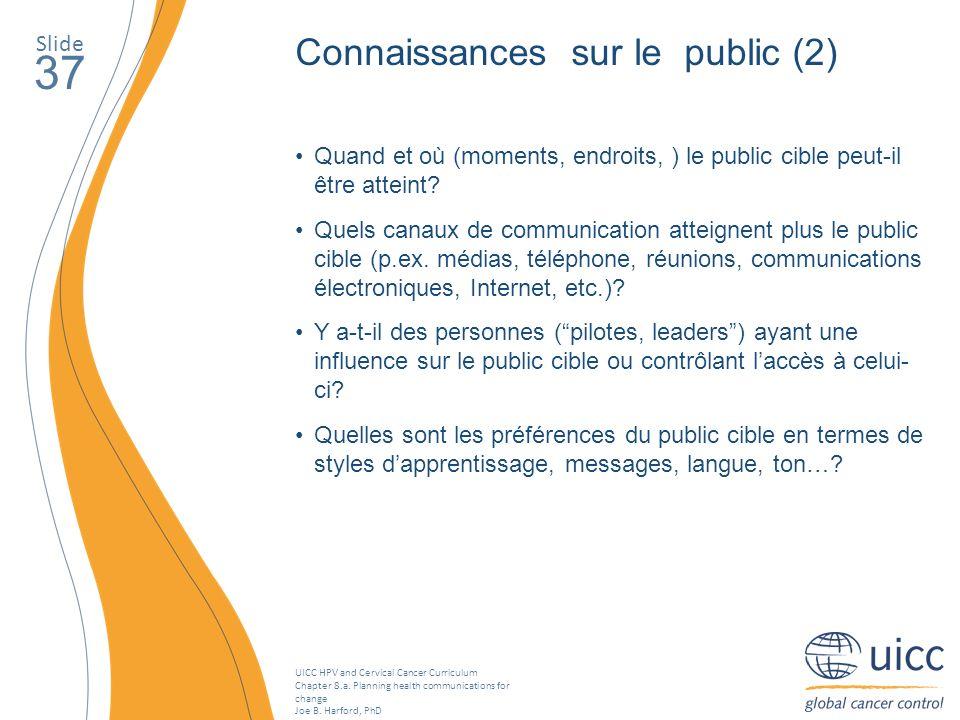 37 Connaissances sur le public (2) Slide
